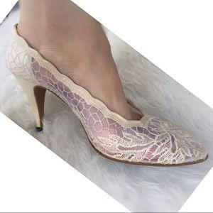 STUART WEITZMAN Heel Cream Lace Semi-Sheer bridal